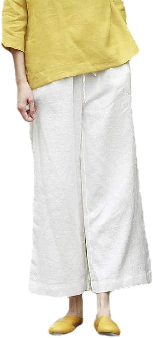 cheelot Women's High Waist Plus-size Vintage Linen Lounge Wide Leg Pants