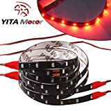 YITAMOTOR 2 X 120CM SMD LED Car Motor Flexible Pure Red Light Strip Bar Waterproof 12V