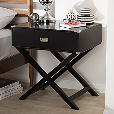 Baxton Studio Contemporary 1-Drawer Nightstand by - Modern and contemporary bedside table Style: contemporary Materials: mdf, hardwood, pine wood - bedroom-furniture, nightstands, bedroom - 51k95pVOjzL. SS400  -