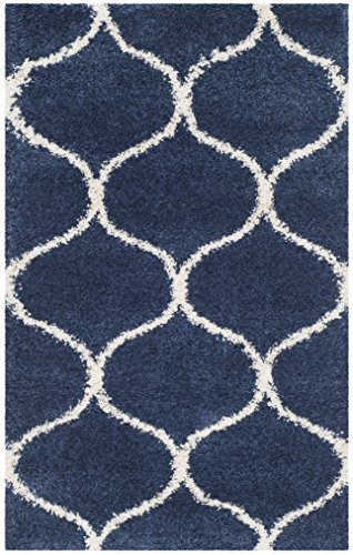 Safavieh Hudson Shag Collection SGH280C Navy and Ivory Moroccan Ogee Plush Area Rug (2′ x 3′)