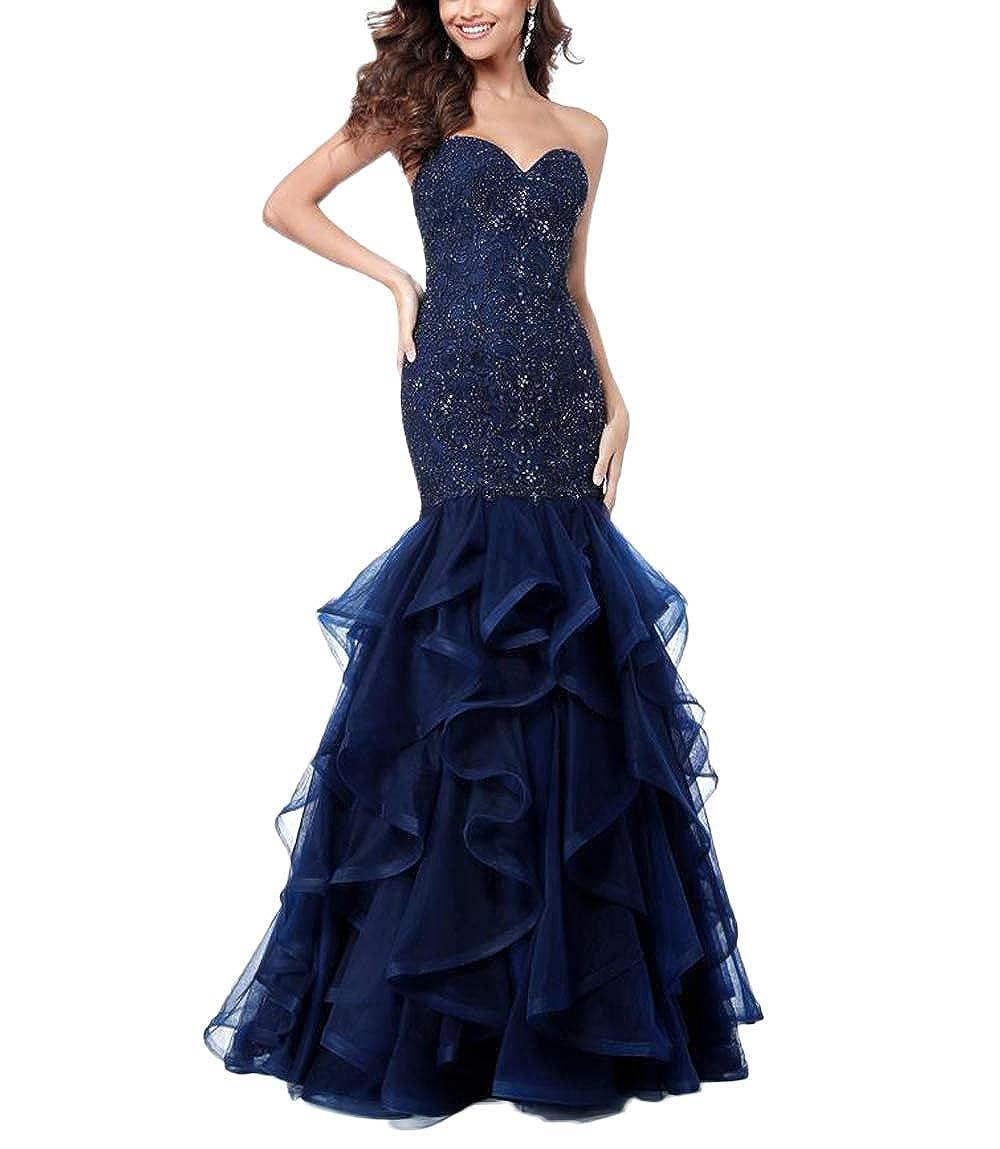 Nave bluee Yisha Bello Women's Beaded Mermaid Pro Dress Sweetheart Long Tulle Evening Dress Formal Gowns