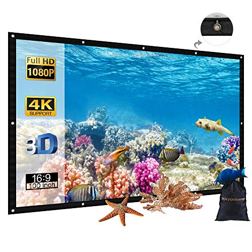 120 inch Portable Projector Screen with Bag, GBTIGER 120' 16:9 4K HD Foldable Indoor Outdoor Movie Screen Home Cinema Theater Party, Support Double-Sided Projection