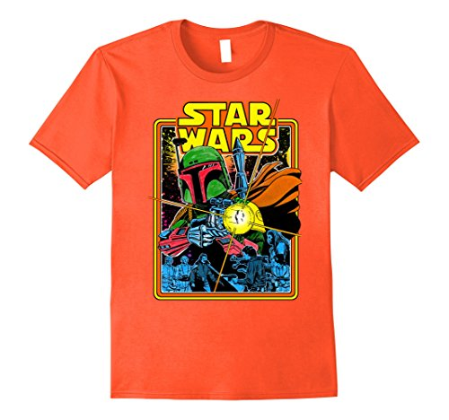 Mens Star Wars Boba Fett Fires Graphic T-Shirt Large Orange