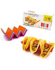 GINKGO Taco Holders Stand 4 Pack,Colorful Taco Tray Plates with Handles Holds Up 2 or 3 Tacos Each for Festival Party Tuesday,Dishwasher & Microwave Safe