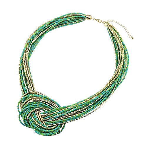 Bocar Greenery Seed Beads Multilayer Chunky Bib Statement Knot Necklace (NK-10316-Green) ()