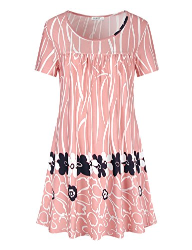 Casual Tops for Women,Mischievous Scoop Neck Romantic Floral Polka Dot Pleated Front for Maternity Summer Cozy Jersey Tunic Shirts Pink XXL (Floral Polka Dot)