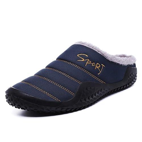 Zapatillas de casa de Invierno para Hombres Zapatillas de algodón Zapatillas Completamente Forradas de Piel Resistencia al Agua para Interiores Cálido ...