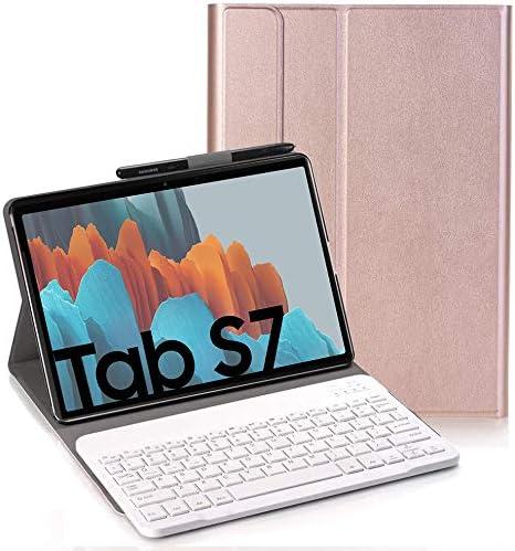 RLTech Teclado Funda para Samsung Galaxy Tab S7, QWERTY Ultra Slim Teclado Keyboard Case con Magnético Desmontable Inalámbrico Bluetooth para Samsung ...