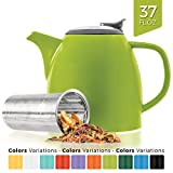 adjust kettle - Tealyra - Drago Ceramic Teapot Lime - 37-ounce (4-6 cups) - Large Stylish Teapot - Stainless Steel Lid Extra-Fine Infuser To Brew Loose Leaf Tea - Leed-Free - 1100ml