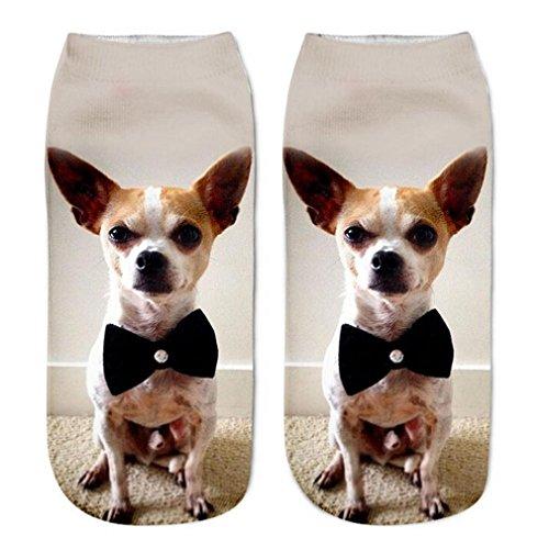 YJYdada 3D Printed Animal Women Casual Socks Cute Cat Unisex Low Cut Ankle Socks (Black)