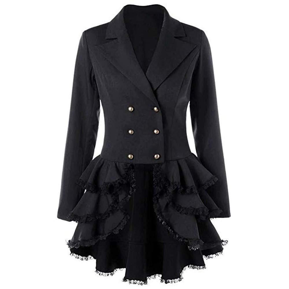 Tuxedo Jacket Women Elegant Double Breasted Ruffle Coat Jacket Slim Fit Lapel Blazer Suit Lace Flounce Dress Jackets Black by AHUIGOYCE