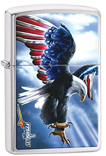 Personalized Message Engraved Customized Eagle Bald Flag Patriotic Zippo Indoor Outdoor Windproof Lighter (Style13)