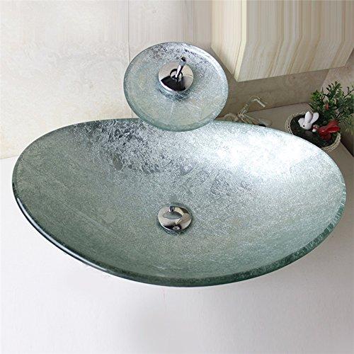 Homelavafans Modern Waschbecken Set Glas Oval mit Wasserfall Wasserhahn