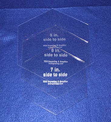 "3 Pc Side to Side Measured Hexagon Set -7"", 8"", 9""- Clear Acrylic 1/8"" Templates"