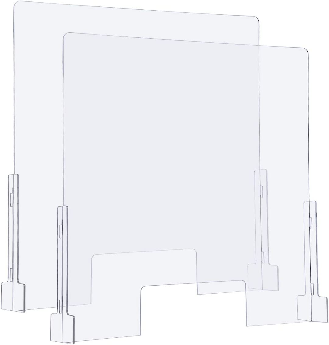 "(2-Pack) Sumerflos Clear Acrylic Sneeze Guard, 31"" x 31"" Protective Plexiglass Shield Barrier for Counter, Cashier, Workers, Reception Desk, Offices, Banks"