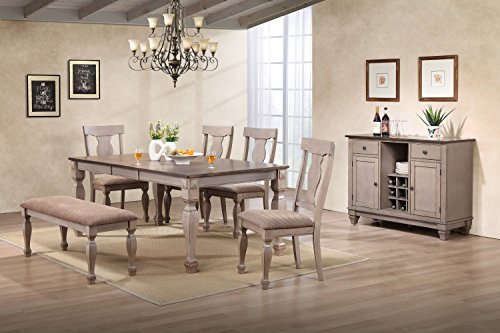 Kings Brand Almon 2-Tone Brown Wood 7-Piece Dining Room Set, Table, Bench, 4 Chairs & Server