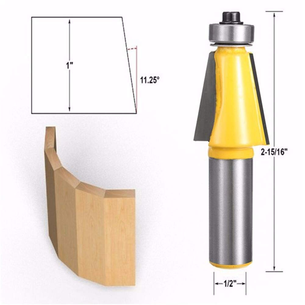 Zebery 1/2 Inch Shank 11.25 Degree Router Bit Chamfer Bevel Edging Woodworking Cutter Tenoner