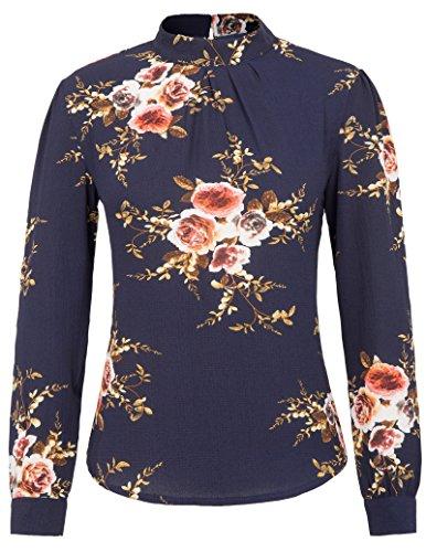 Grace Karin Womens Casual Chiffon Long Sleeve Blouse Shirt Business Tops