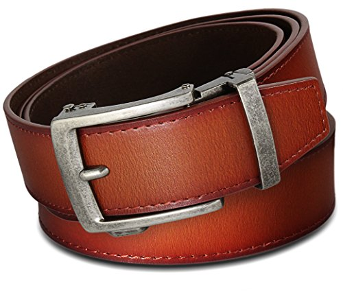 Men's Leather Ratchet Click Belt - Classico Antique Silver Buckle w/ Sienna Tan Leather Belt (Trim to Fit: Up to 45'' Waist)