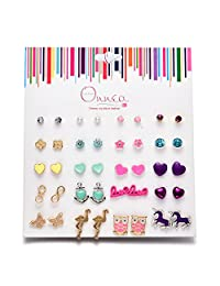 Oaonnea Multi Pairs Ball Stud Earrings Set for Girls,Hypoallergenic