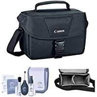 Camera Accessory Bundle Kit of Canon 100ES Top Quality Water-repellent Black Shoulder Bag Case, Combo with Pro Optic Complete 14-piece Accessory Cleaning Kit for Photography Lens, LCD, Sensor, Glasses Noticeable Review Image