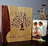 Personalized Wood Cover Photo Album, Custom Engraved Family Tree Wedding Album, Style 121 (Maple & Walnut Cover)