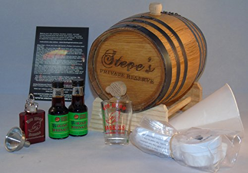 2 Liter Custom Engraved American White Oak Flavoring Gift Set (Irish Whiskey) Engraved Red Wine