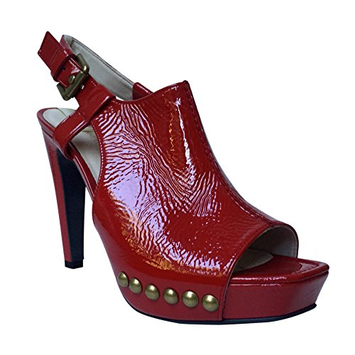 Kennel & Schmenger - Zapatos de tacón mujer Red Patent Studded Shoe Boot