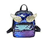 Liliam Girls Cute Sequin Winged Backpack Daypack Satchel Shoulder Travel Bag Party Mini Bag(Blue)