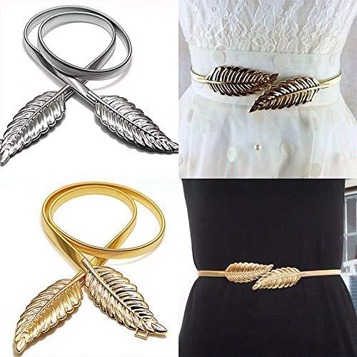 9972a9785 Women Belt Gold Silver LEAF Elastic Metal Stretch High Waist Dress  Cummerbund (Silver)