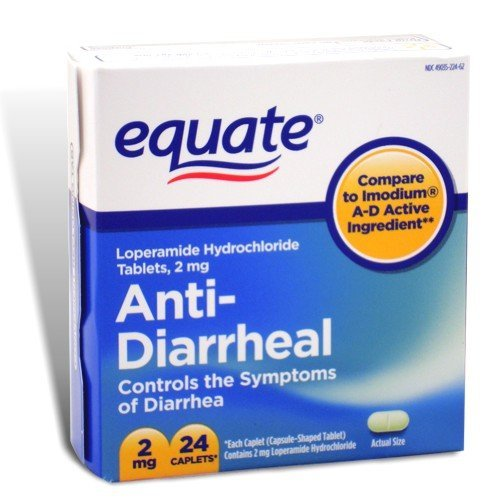 Equate - Anti-Diarrheal, Loperamide 2 mg, 24 Caplets (Compare to Imodium A-D)