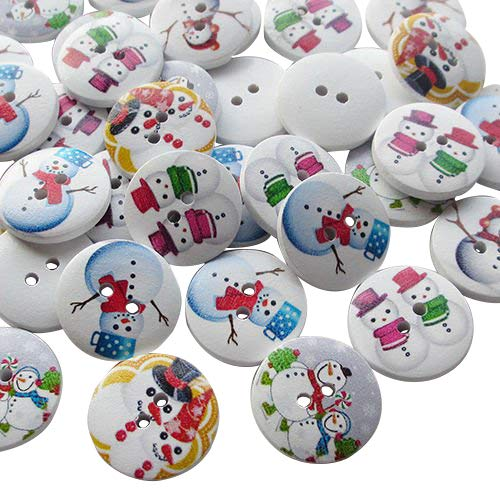 "Chenkou Craft 100pcs Santa Christmas Snowman Wood Buttons 20mm (3/4"") Sewing Mix Lots"