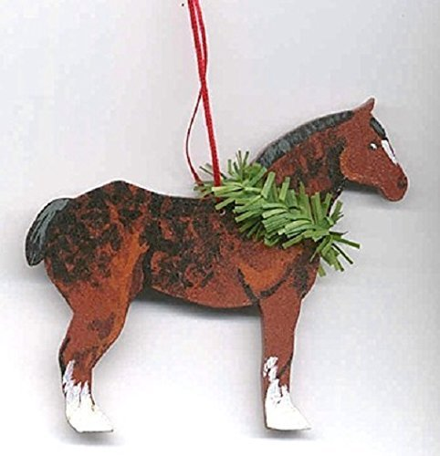 Hand-Painted DRAFT HORSE Wood Christmas Ornament Artist Original...choose belgian, clydesdale or percheron horse (Christmas Draft Horse)