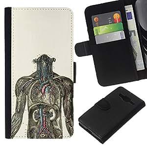 """A-type (Anatomía Humana Gráfico"""") Colorida Impresión Funda Cuero Monedero Caja Bolsa Cubierta Caja Piel Card Slots Para Samsung Galaxy Core Prime"""