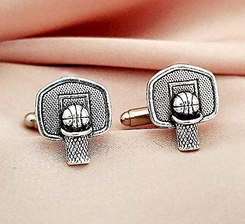 - Basketball cufflinks cuff links for men teens-Basketball layer Coach jewelry gift