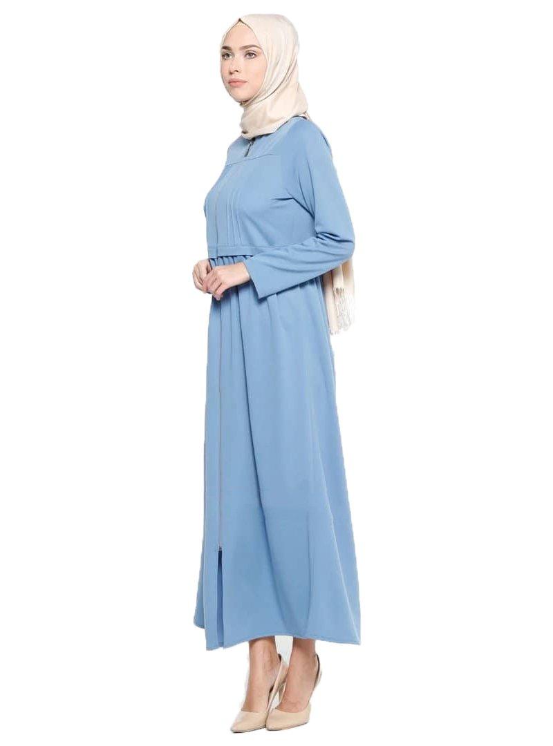 Miss Cazibe Turkish Blue - Unlined - Crew Neck - Abaya (40)