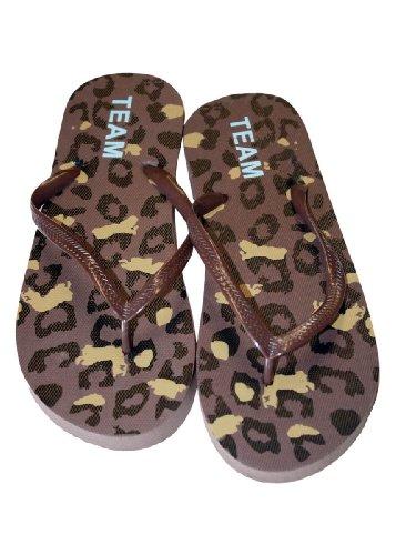 Kvinner Uformell Strand Flip Flop Thong Sandal Med Leopard Print, Myk  Fotseng Brun