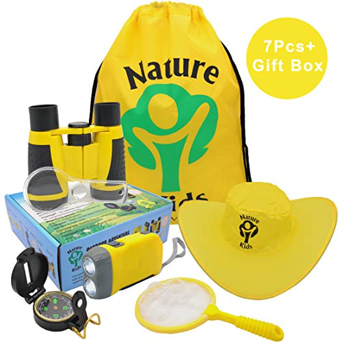 Adventure Kids - Outdoor Explorer Kit, Children's Toys Binoculars, Flashlight, Compass, Magnifying Glass, Butterfly Net & Backpack. Great Kids Gifts Set for Birthday, Camping, Hiking and Educational -