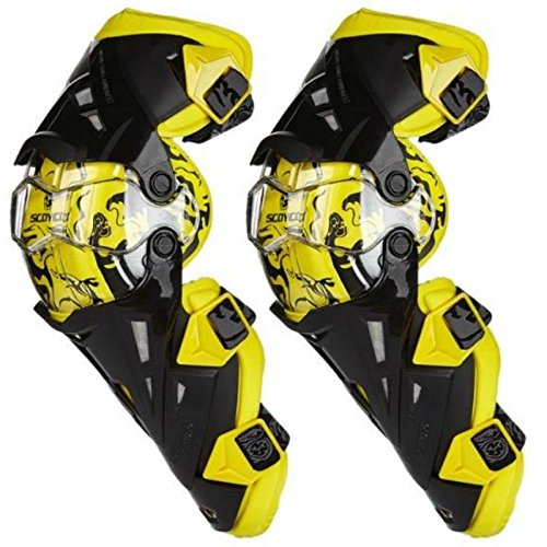 Shin Protector ATV Motocross Knee Pads Sports Scooter Motor-Racing Guard Safety Knee Pads Snowmobile Ski Guards (Yellow) ()