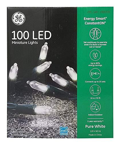 GE 100 Miniature Lights Energy Smart ConstantOn, Pure White