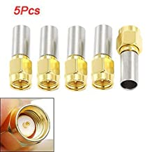 SODIAL(R) 5pcs SMA Male Plug RF Coaxial Connector Crimp for RG58 RG142 RG400 LMR195 RG223
