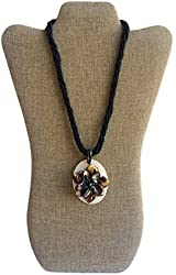 SPFJ AmanJul Flower Pendant Brown Shell Beaded Necklace