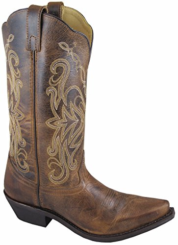 Western Cowboy Temperate New Smoky Mountain Boots Brown & Red Youth