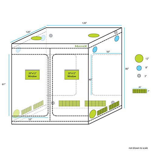 "51k9B28j jL - Matrix Horticulture 120""x120""x80"" Grow Tent Diamond Mylar 600D Hydroponic Growing Room Box for Indoor Plants Observation Window Arch Door D Design 10x10"