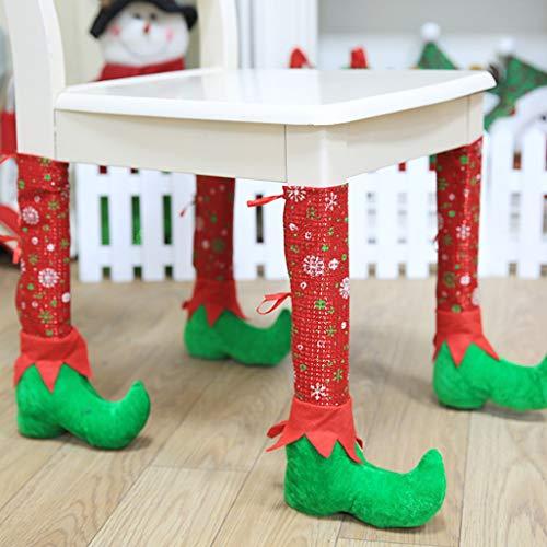 Seaskyer 4PCS Christmas Table Chair Leg Covers Socks Santa Claus Feet Boots Shoes Legs Party Decorations Novelty Christmas Dinner Table Decoration 20cmx36cm]()