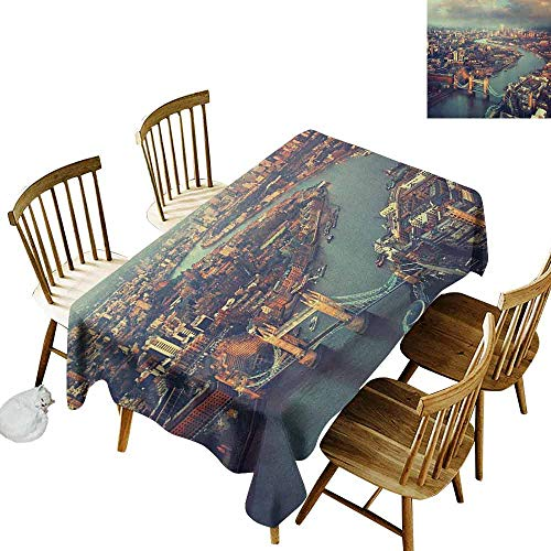 DONEECKL London Waterproof Tablecloth Polyester Tablecloth Panoramic Picture of Thames River and Tower Bridge Famous Cityscape Orange Beige Almond Green W60 xL102