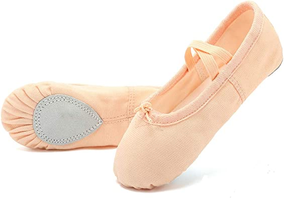 Move Dance Girls Ballet Shoes Canvas Fabric Dance Flats for Kids Toddlers