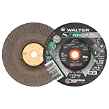 "Walter Flexcut Mill Scale Premium Performance Flexible Grinding Wheel, Threaded Hole, Aluminum Oxide, 5"" Diameter, 3/16"" Thick, 5/8""-11 Arbor, Grit A-36-FLEX (Pack of 25)"