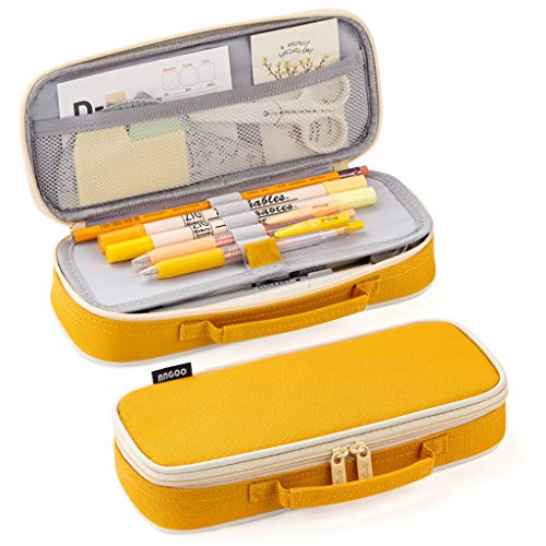 EASTHILL Pencil Case Medium Capacity Pencil Bag Cute Pencil Pouch with Zippers Stationery Organizer Storage Office School Gift for College Student Teen Girl Women Adult -Yellow