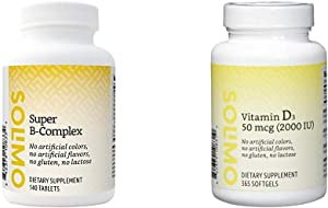Amazon Brand - Solimo Super B-Complex, 140 Tablets, Four Month Supply (Packaging May Vary) & Solimo Vitamin D3 50 mcg (2000 IU), 365 Softgels, Value Size - One Year Supply